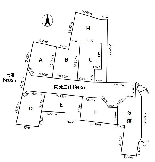 犬山市裏之門 H区画980万の区画図